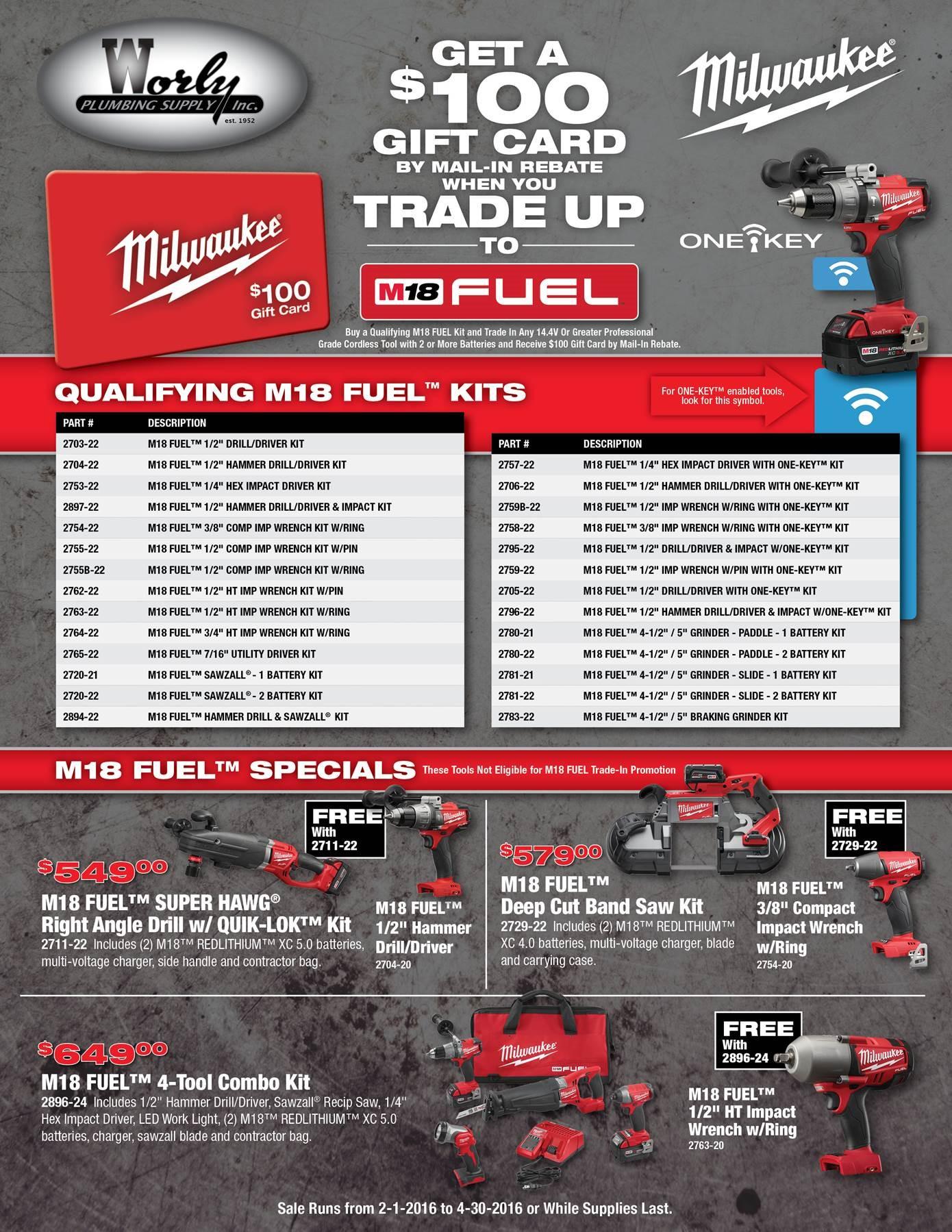 Trade Up to Milwaukee Tools Worly Plumbing Supply